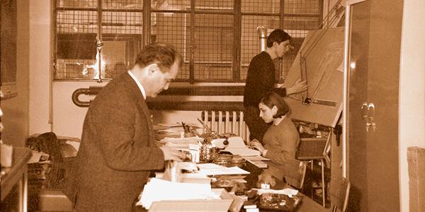 Инженер в 1966 году в первом кабинете IGV в Милане